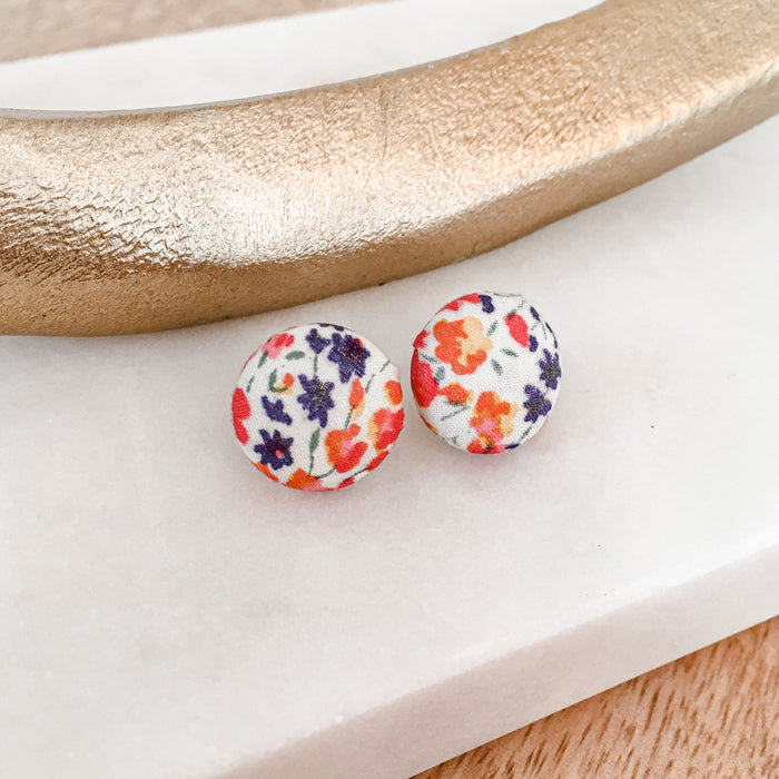 Blossom, 15mm studs, floral, gold plated posts