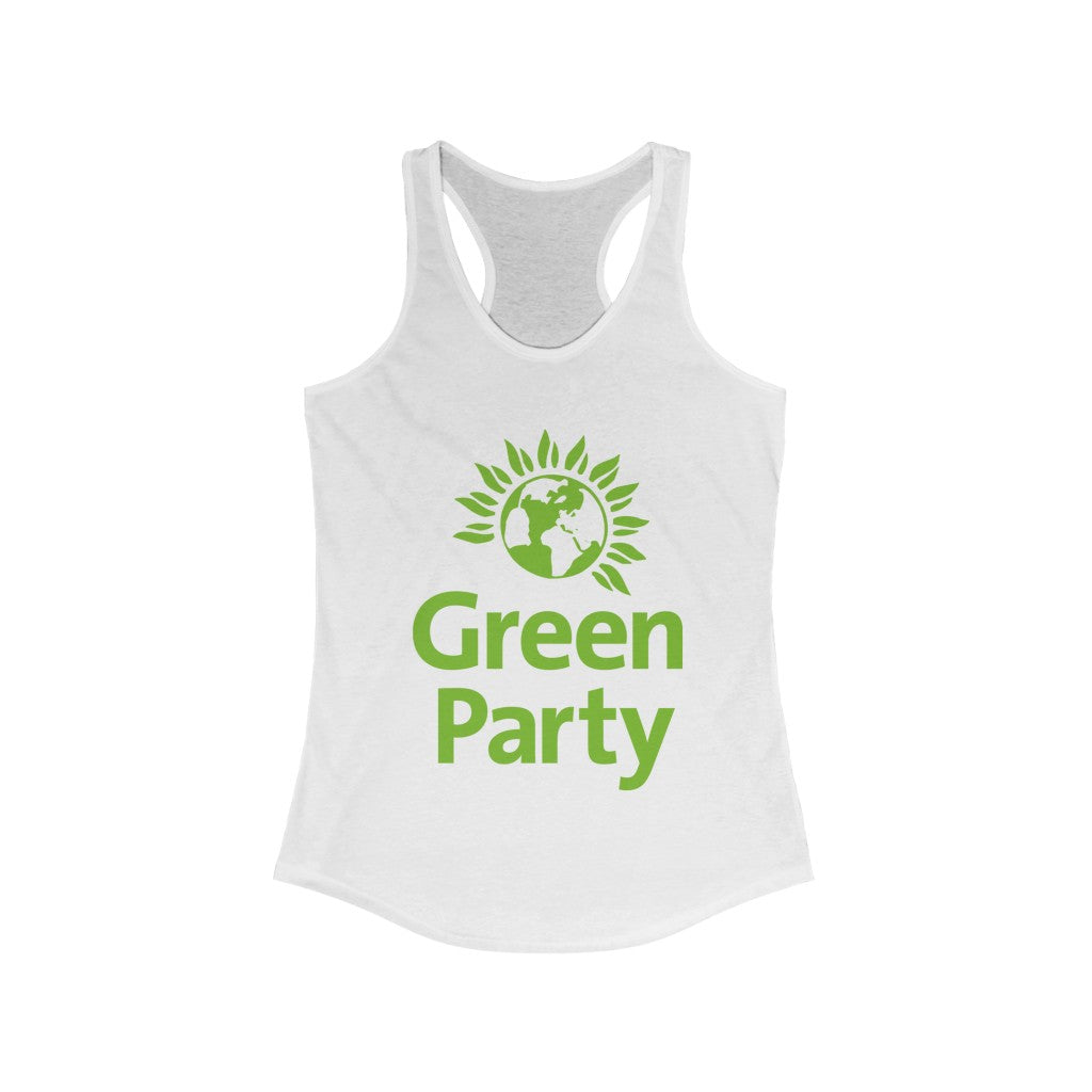 "OUTSPOKEN-DESIGNS ""Green Party"" Women's Ideal Racerback Tank"