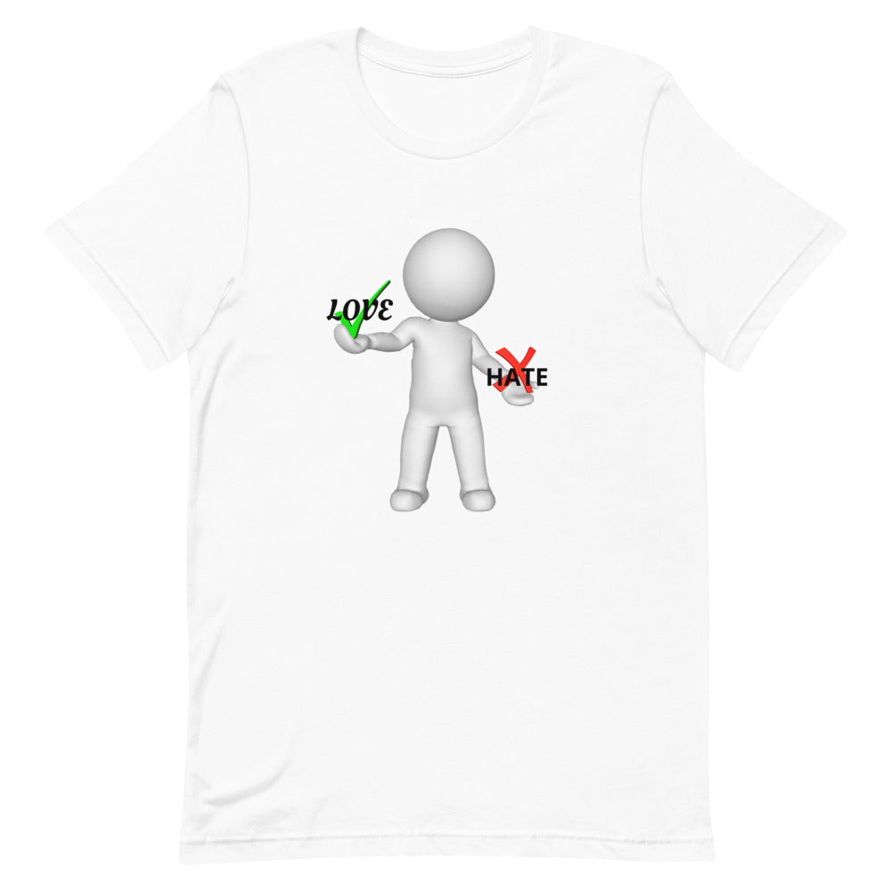 "Outspoken-Designs ""Love or Hate?"" Short-Sleeve Unisex T-Shirt"