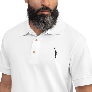 "Outspoken-Designs :Power to the People"" Embroidered Polo Shirt"