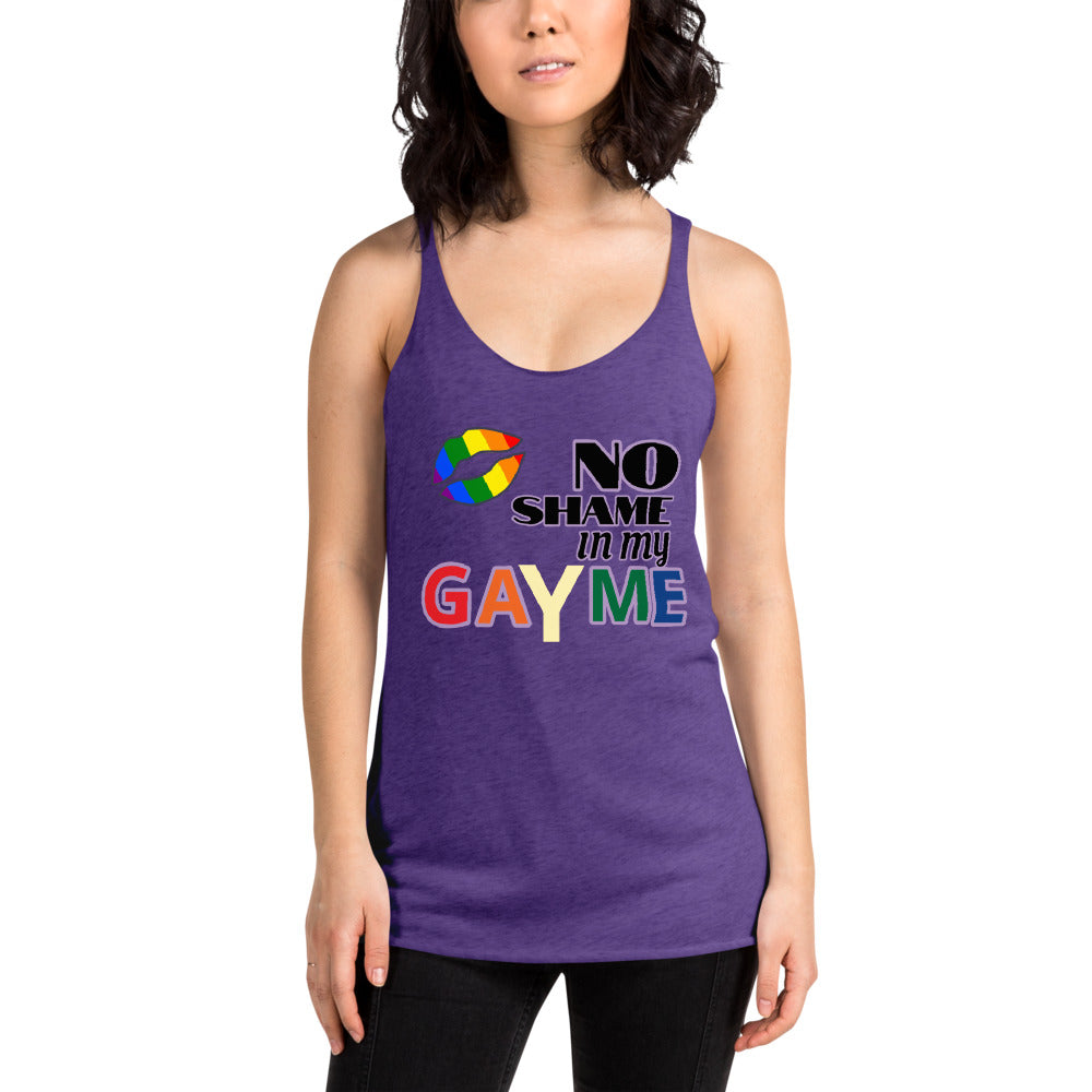 "Alison F. Inspired ""No Shame In My GaYme"" Women's Racerback Tank"