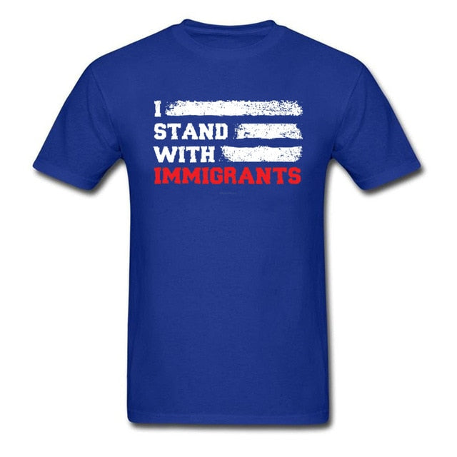 T-shirt Men Striped  T Shirts I Stand With Immigrants T Shirts USA