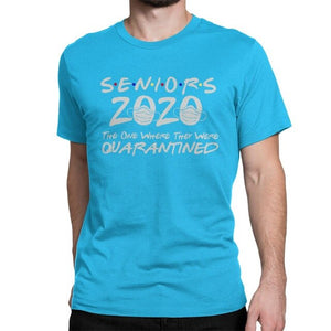 Novelty Seniors 2020 The One Where They Were Quarantined T-Shirt for Men social distance Cotton T Shirt Healthy with Masks Tee
