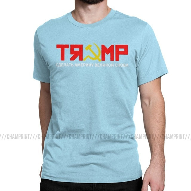 Trump Make America Great Again Russian CCCP T-Shirt Men 2020 President Election Vote Politics Casual Tee Shirt 6XL Clothing