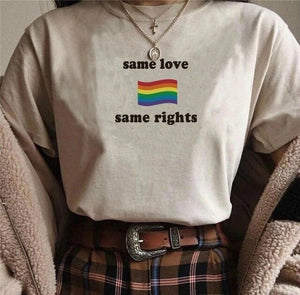 Hot Sale! Same Love Same Rights Rainbow Flag Printed t-shirt