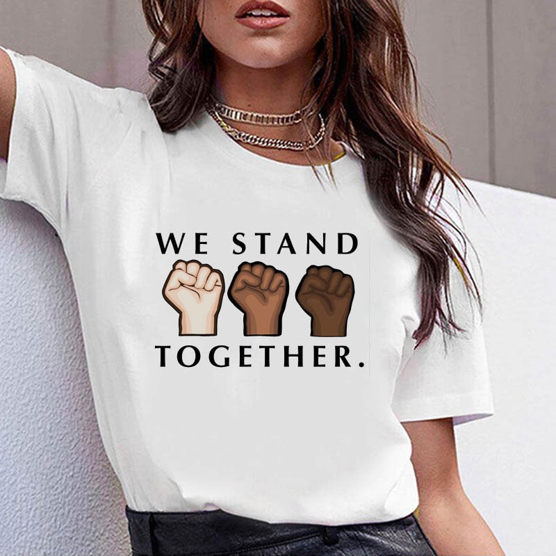 We Stand Together Women T-shirt Unity Hands Girl Tee Short Sleeve Cotton Female Tops