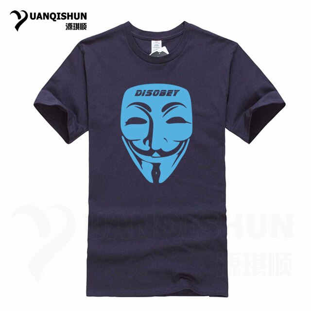 YUANQISHUN Guy Fawkes Mask T-Shirt Movie V for Vendetta Tshirt Anonymous Disobey Troll Political T Shirt Hip Hop Casual Mens