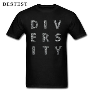 Street T-shirt Man 2019 New Tshirt Letter Mens Tees Unity and Diversity  Cotton Top T Shirts