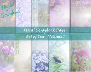 Blue and Purple Floral Scrapbook Paper Set