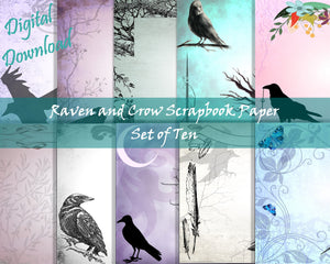 Raven and Crow Scrapbook Paper Set
