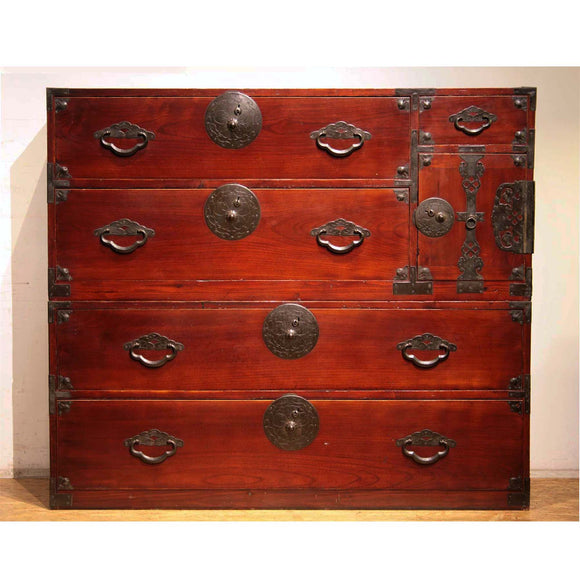 ◆HOLD◆j0624.米沢欅桜紋衣装箪笥 【 YONEZAWA 7 DRAWER CLOTHING TANSU CHEST 】