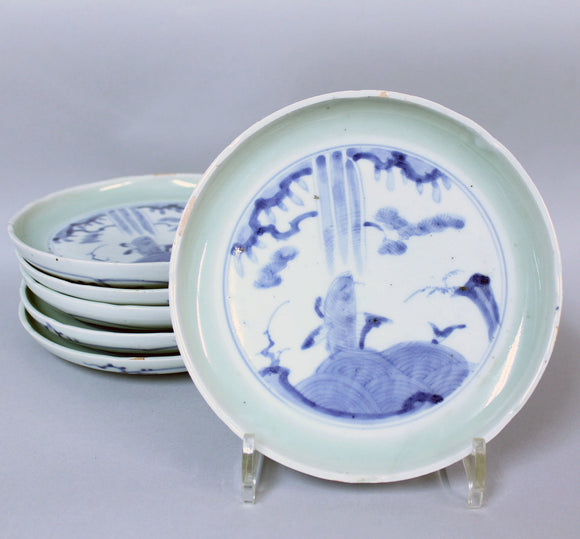 p0233.古伊万里鯉図染付皿6客揃い【Old Imari blue and white with carp motif 6ps.】