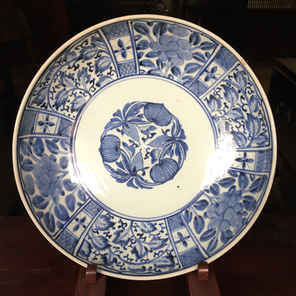 p0291 古伊万里染付大皿【Old Imari blue and white big plate 】