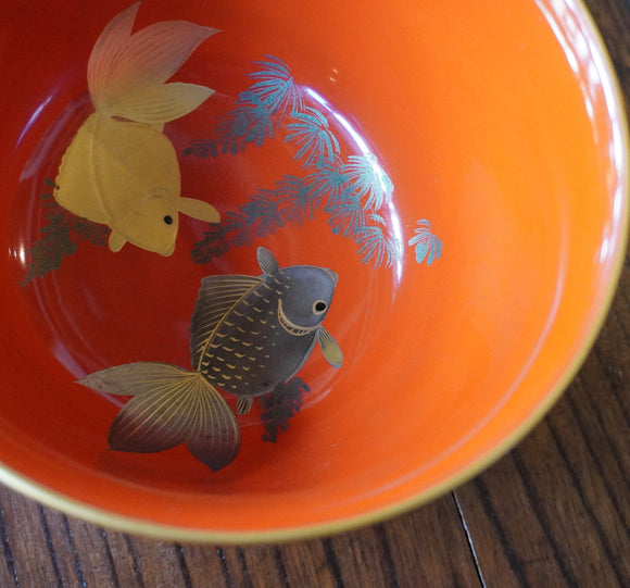 k0424  朱塗金魚図鉢【lacquered bowl with gold fish design】