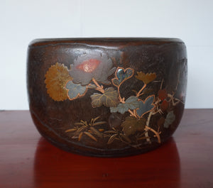 s1390 桐火鉢(四君子) 【Gold lacquered brazier made with paulownia】