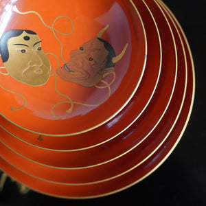 k417  能面図朱塗杯五客 【 Lacquered sake cups with Noh play masks design, 5pieces set】