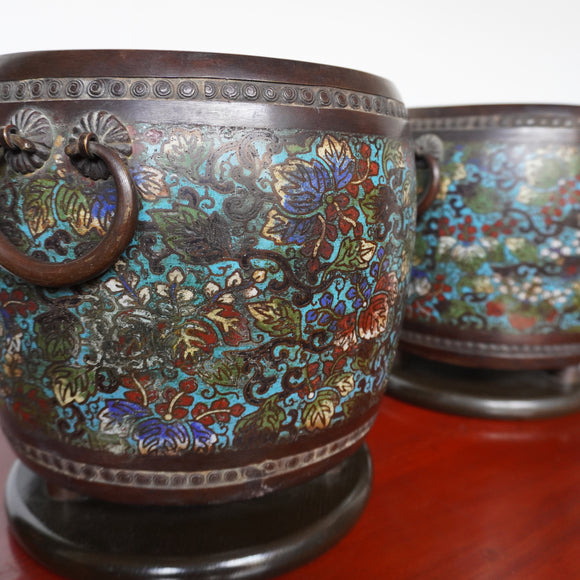 k0418  七宝火鉢一対【A pair of cloisonne brazier】
