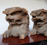 k0419  木鼻 獅子阿吽像一対【Chinese lion Kibana, temple and shrine exterior】