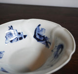 p0299 六歌仙図青磁鉢五客【Blue and white bowls with Rokkasen design, 5 pieces set】