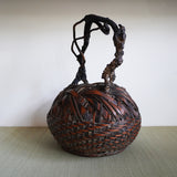 k0422  天然木手付花籃【Bamboo flower basket with natural wood handle】
