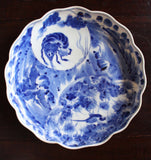 p0280.海老図染付大皿【Imari large plate with Shrimp and bird design】