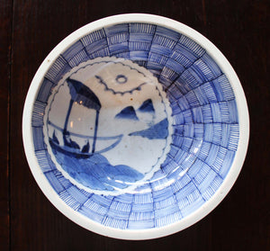 p0284.染付籠目に山水図中鉢【Bowl with basket and landscape design】