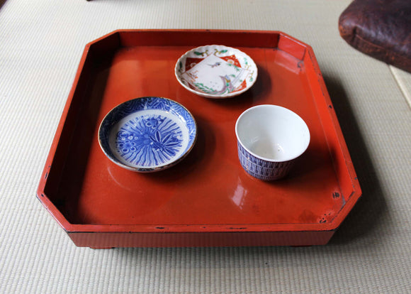 s1367 朱塗り膳 一客 【vermillion color lacquered tray】