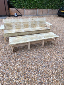 Handmade 4 seater bench and table