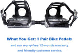 DRBIKE Bike Pedals with Toe Clips