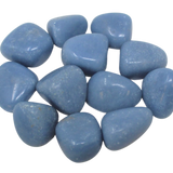 Angelite Polished Tumbled Crystal   Our amethyst has a soothing blue coloring to the stone. Each stone weighs approximately 7-12g. The size and shape may vary. If smaller shape, we may include multiple pieces to meet mid-gram level.  What does it do? Angelite is a stone of communication to spirit guides.