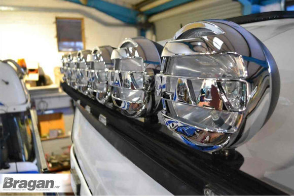 To Fit DAF XF 106 2013+ Space Cab Black Roof Light Bar + Flush LEDs x7 + Round Chrome Spots x6