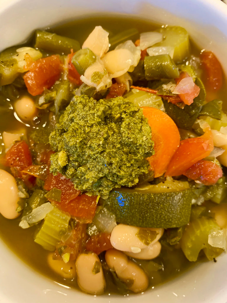 Pesto, Bean, Veggie Soup.  Delish!  Slow cooker/ crock pot recipe