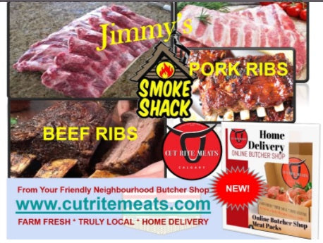 Succulent Ribs of all different types and sizes in Cut Rite Meats Smoke Shack