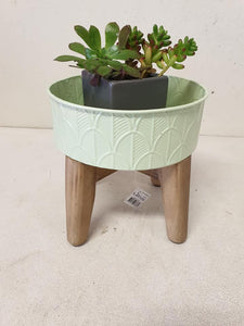 Small green tin planter