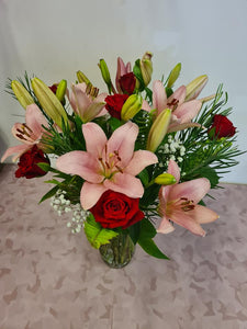 1/2 Dozen Red Roses and Asiatic Lillies