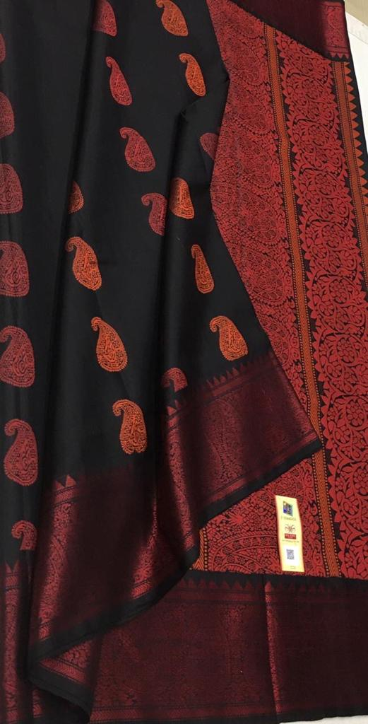 BLACK WITH RED PURE SILK SAREE