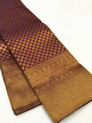 DARK MAROON PURE KANCHIPURAM SILK