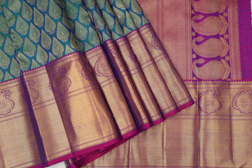Green with Purple Pure Kanchipuram Silk