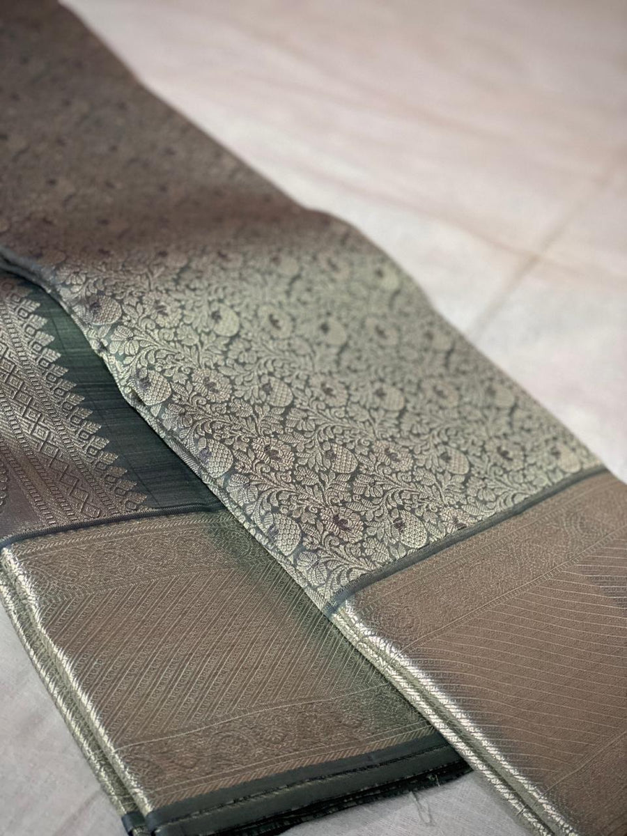 Dark Gray with silver Kanchipuram pure silk