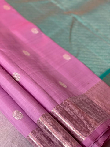 Baby pink Kanchipuram pure silk