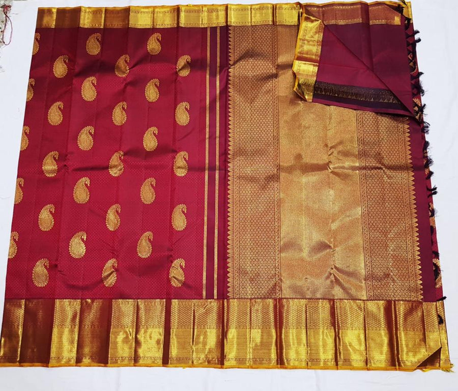 Maroon  pure kanchipuram silk