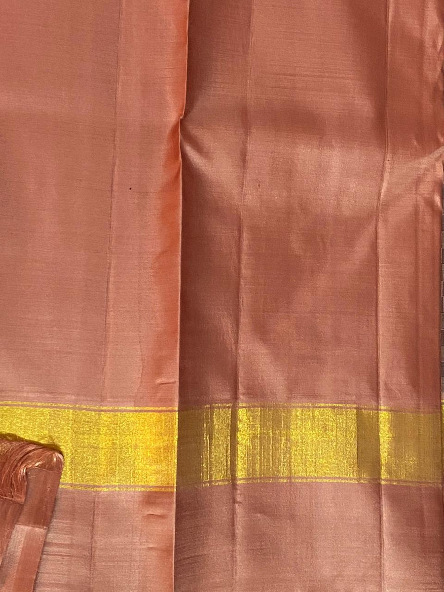 CARAMEL BROWN PURE KANCHIPURAM SILK