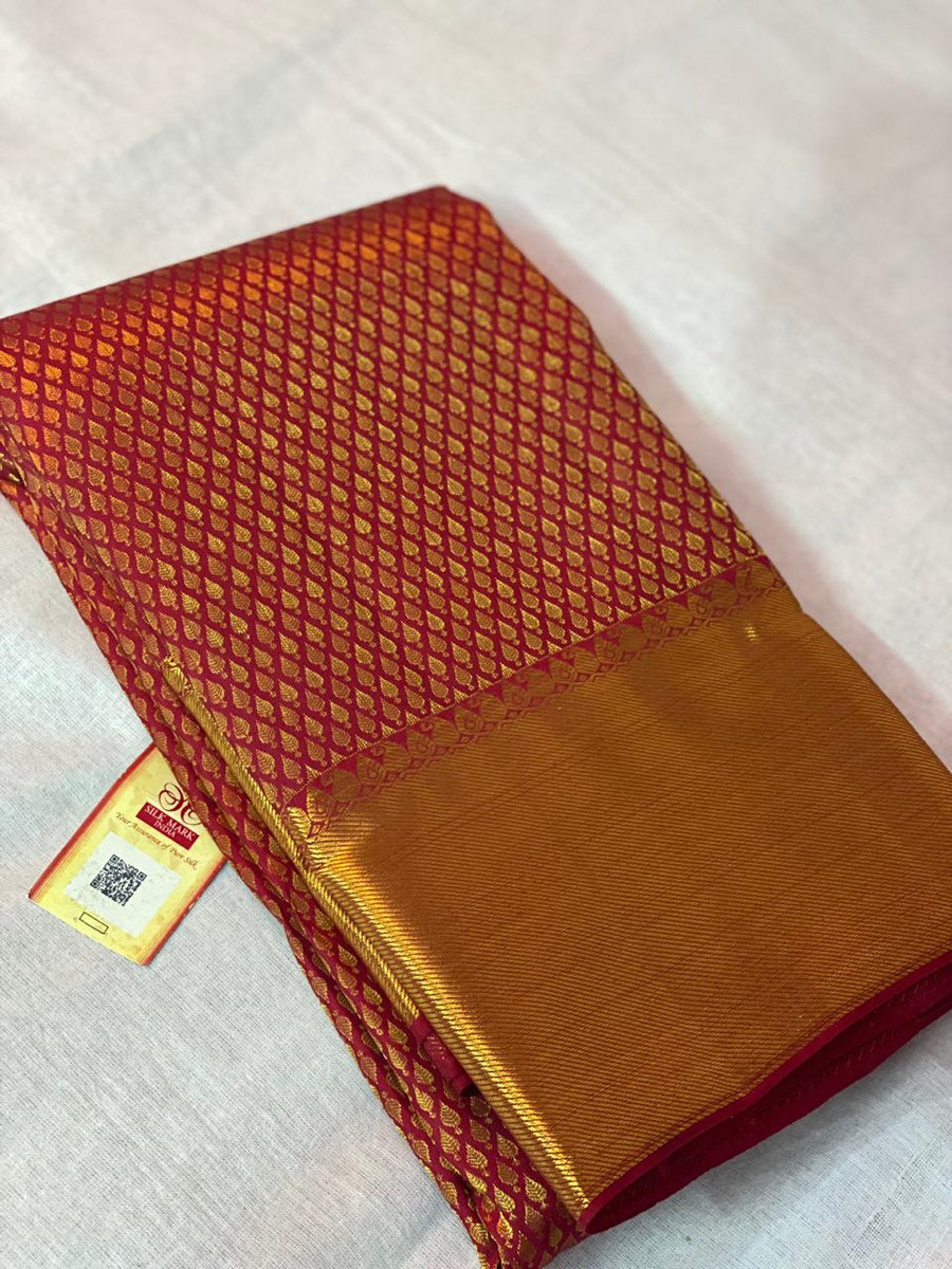 REDDISH MAROON PURE KANCHIPURAM SILK SAREE