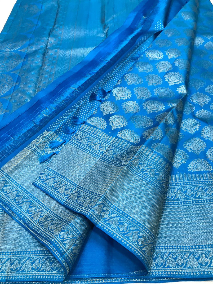 BLUE PURE KANCHIPURAM  SILK