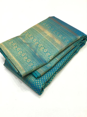 AQUA GREEN PURE KANCHIPURAM SILK