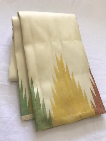 HALF WHITE PURE KANCHIPURAM SILK SAREE