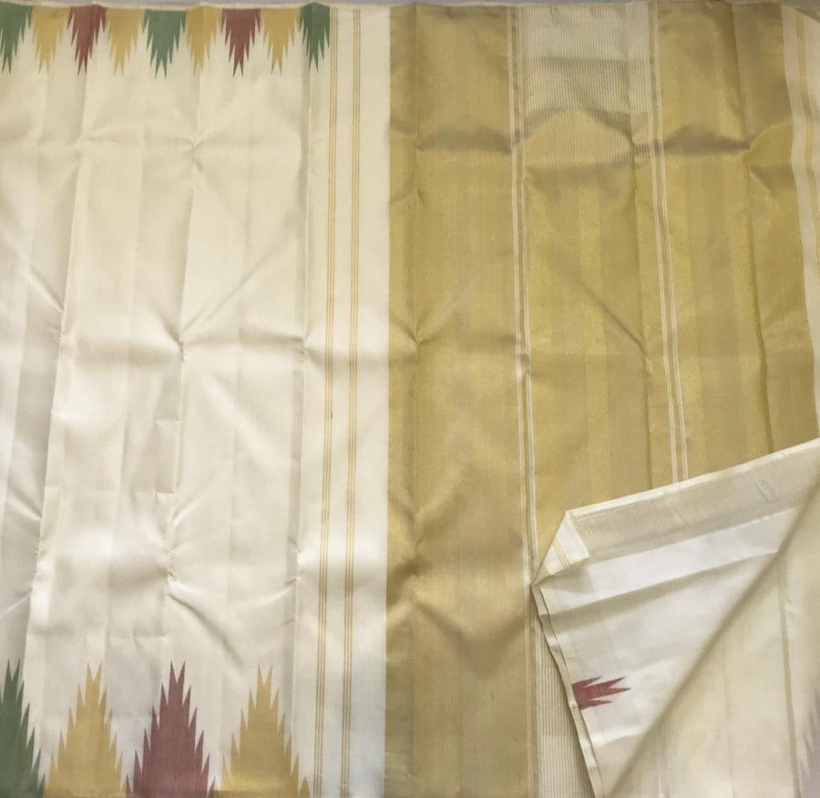 Simple And Soft White Saree- Pure Kanchipuram Silk JijiSilkCollections