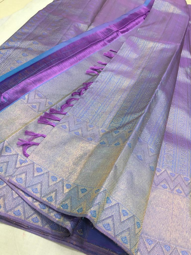 Pastel bluish shade pure kanchipuram silk saree