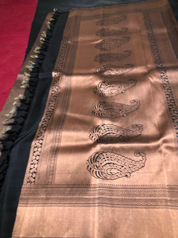 BLACK AND COPPER SHADE PURE KANCHIPURAM SILK SAREE