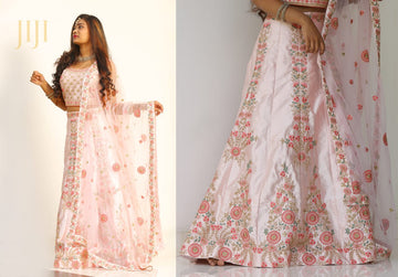 pastel pink shade lehanga with heavy embriodery work